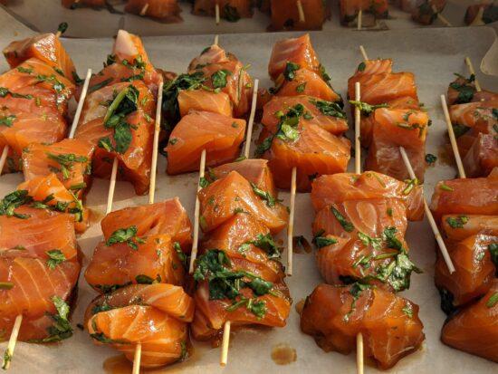 Honey & Coriander Salmon Skewers